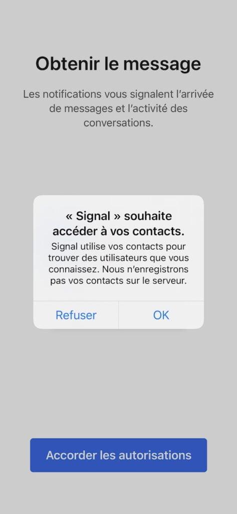 Signal souhaite acceder a vos contacts