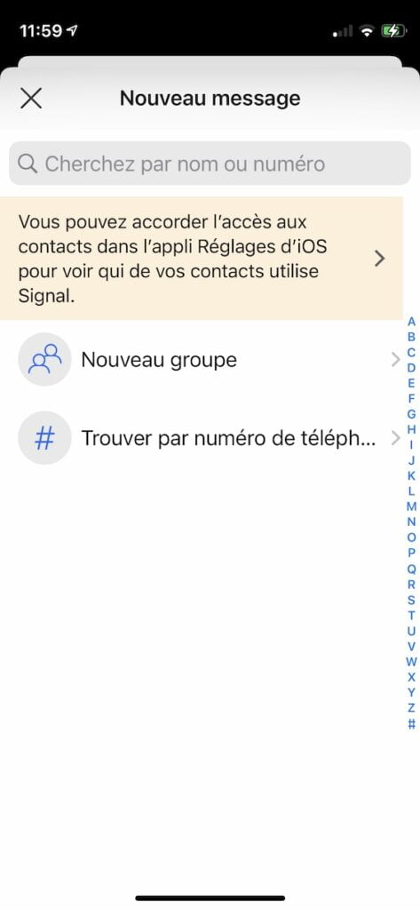ajouter groupe ou numero de telephone dans Signal iPhone