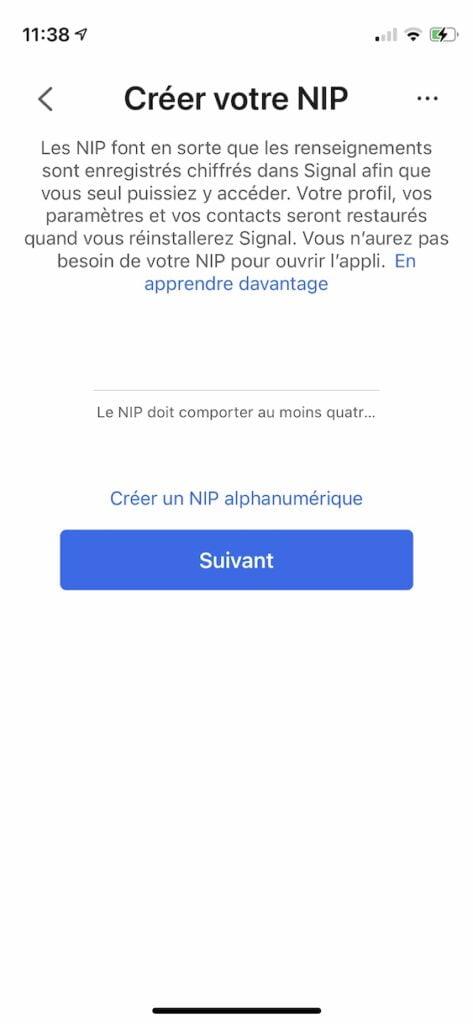 configurer Signal sur iPhone NIP