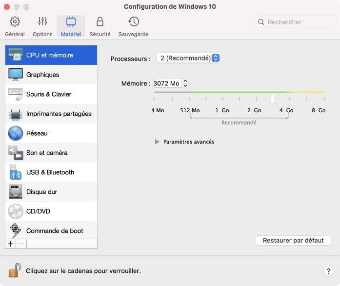 configurer machine virtuelle windows 10 mac m1