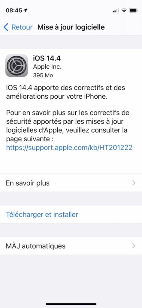 iOS 14.4 pour iPhone