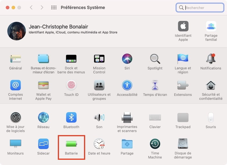 menu batterie macos big sur