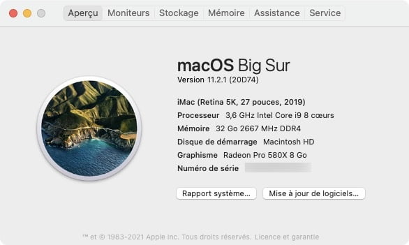 macOS Big Sur 11.2.1 a propos de ce mac