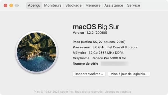 macOSBigSur 11.2.2 informations systeme