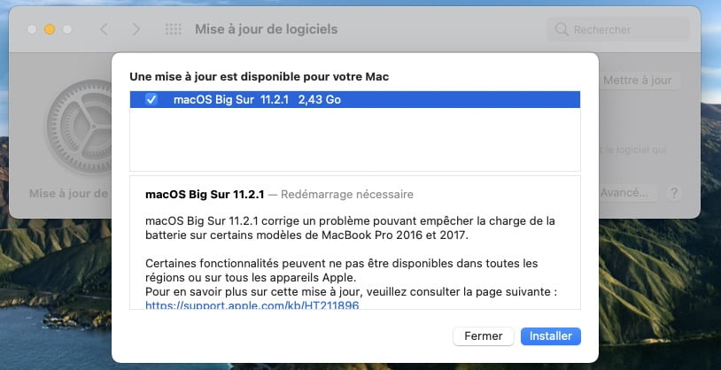 macos big sur 11.2.1 correctif batterie macbook pro 2016 2017