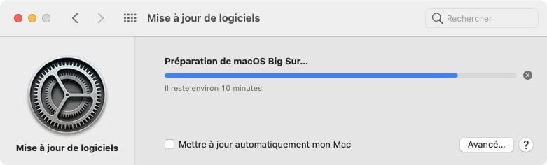 preparation telechargement macos big sur 11.2.1