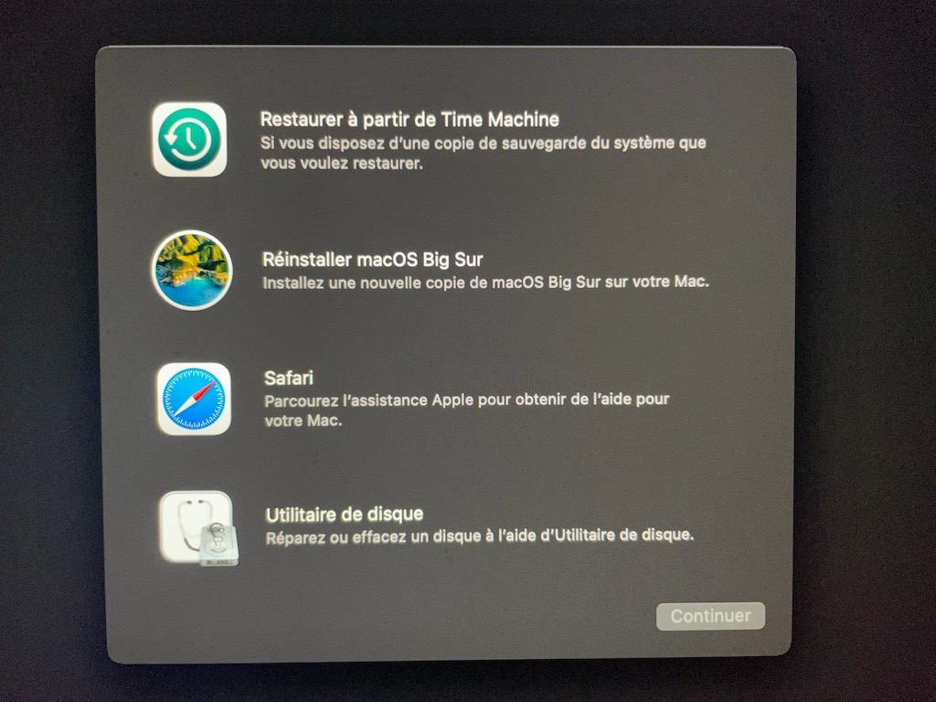 reinstaller macOS Big Sur Mac Intel