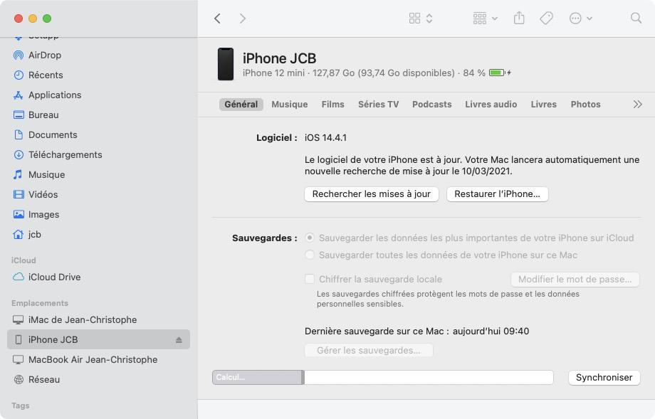 Le logiciel de votre iPhone est à jour iOS 14.4.1