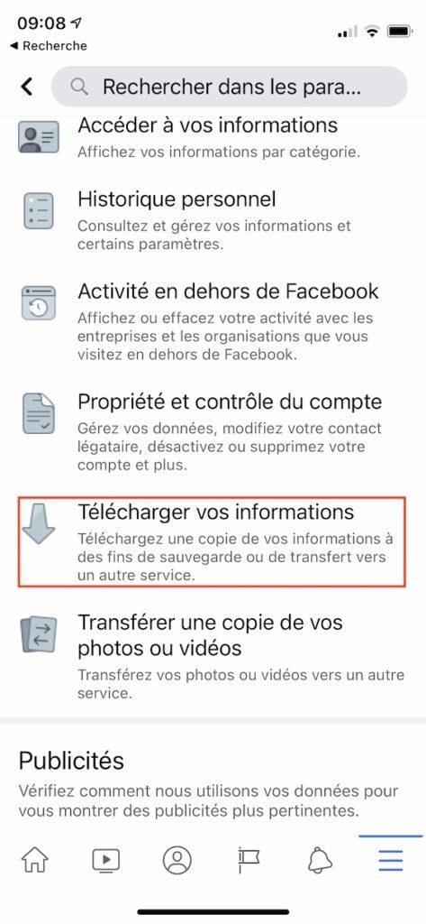 Telecharger photo Facebook sur iPhone