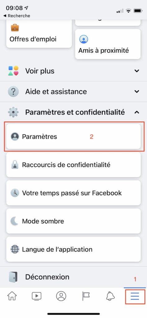 Telecharger ses photos et videos Facebook sur iPhone Parametres
