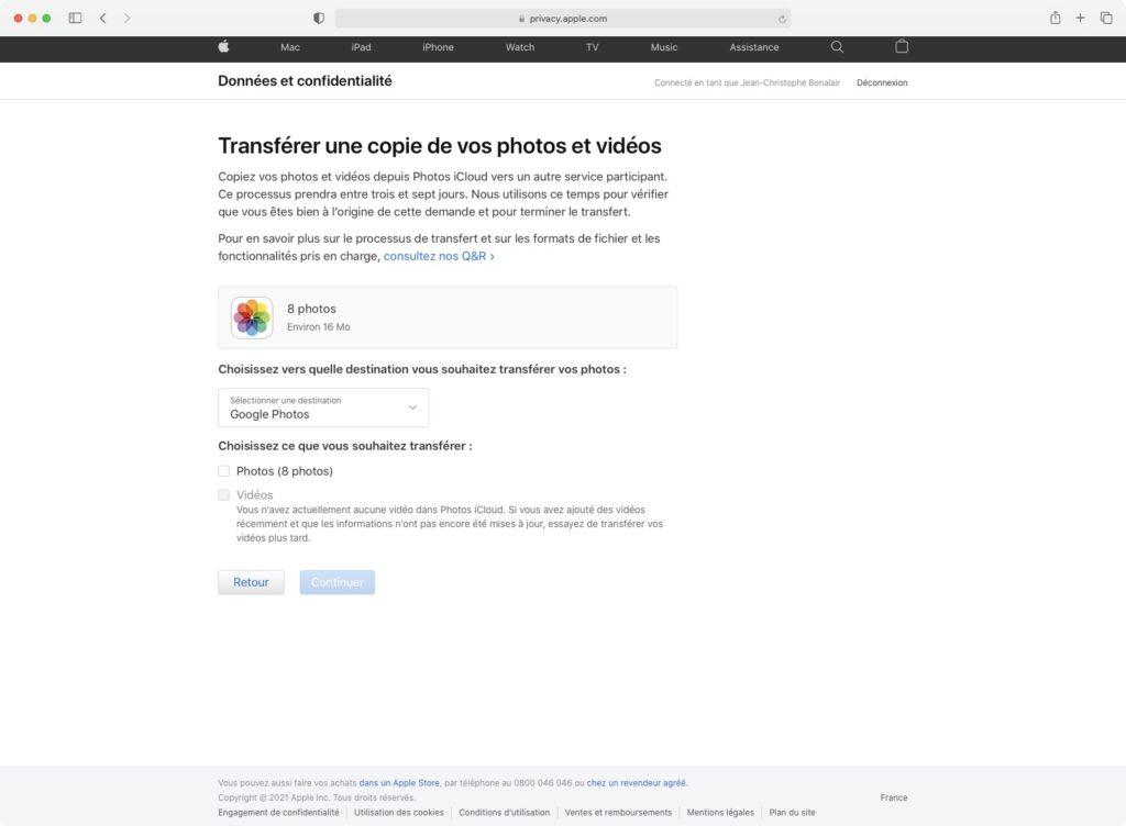 copier photo et videos iCloud sur autre emplacement