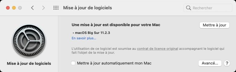 macOS Big Sur 11.2.3 mettre a jour