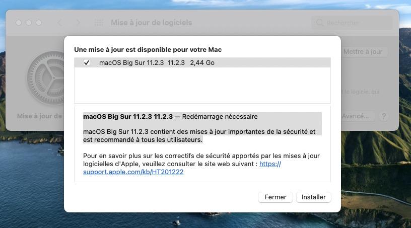 macOS Big Sur 11.2.3 nouveautes