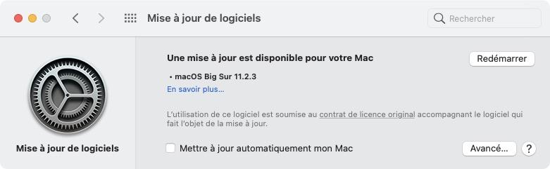 macOSBigSur11.2.3 redemarrer