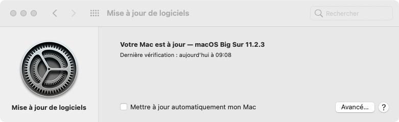 macOS Big Sur 11.2.3 votre mac est a jour