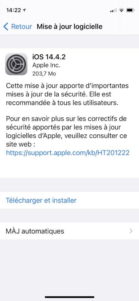 mise a jour de securite iOS 14.4.2