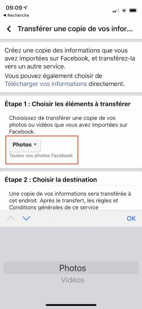 sauvegarder photos facebook sur iPhone