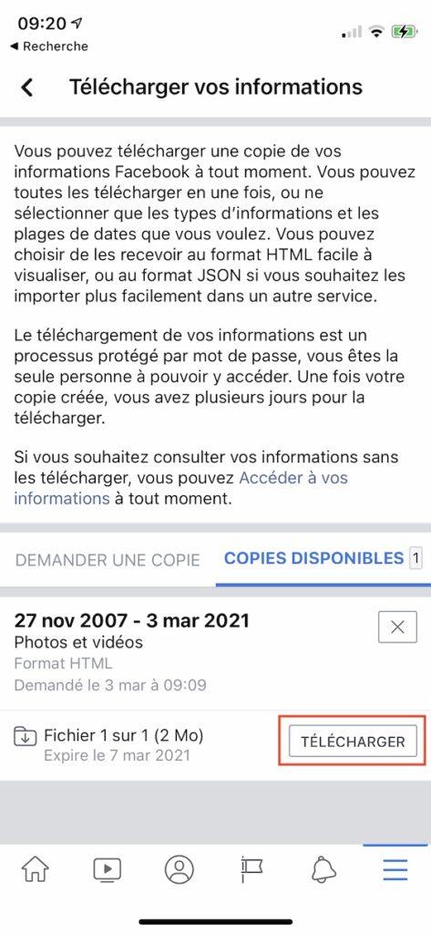 telecharger copie photo et videos facebook depuis iPhone