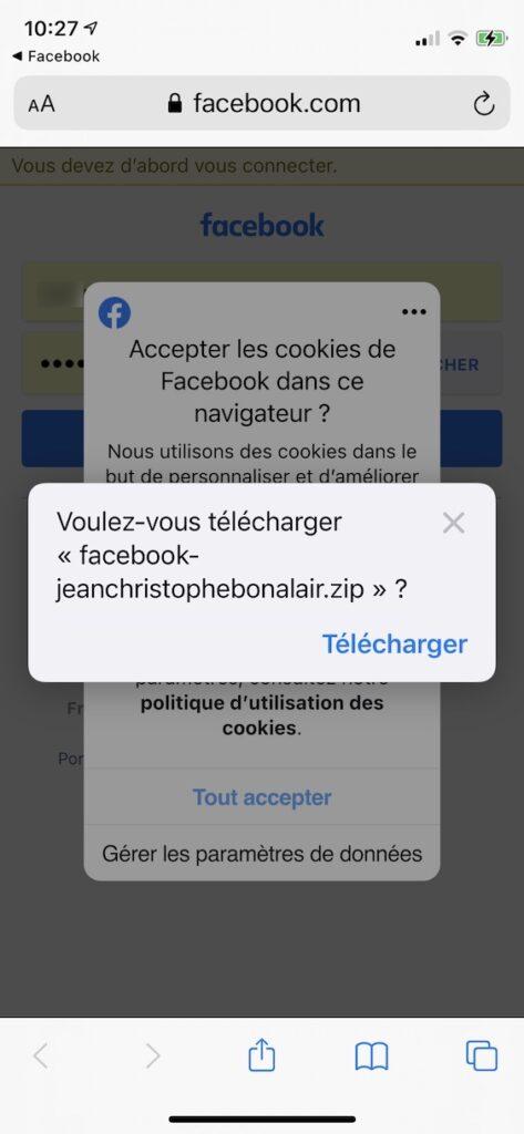 telecharger photos facebook sur iphone dans l app Fichiers