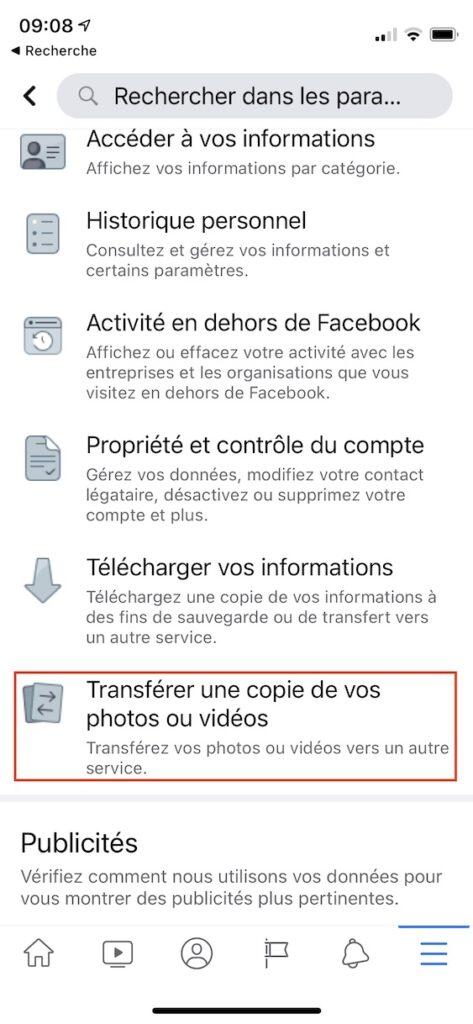 transferer une copie de vos photos ou videos Facebook sur iPhone iPad