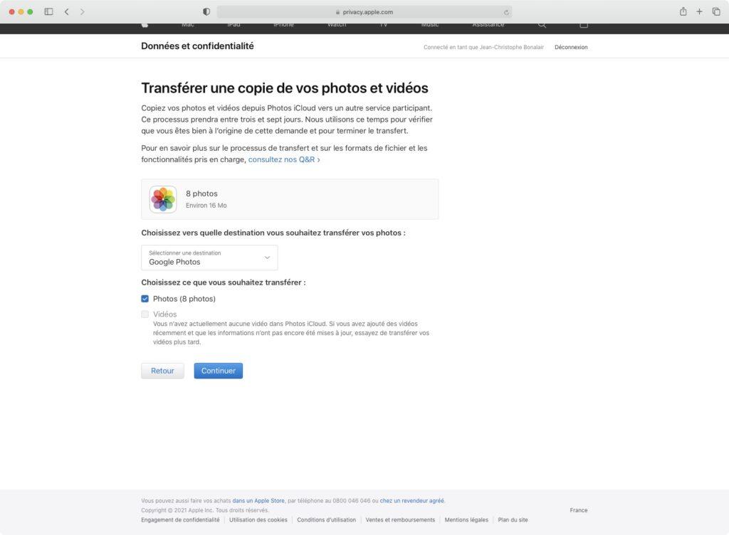 transferer video icloud sur google photos