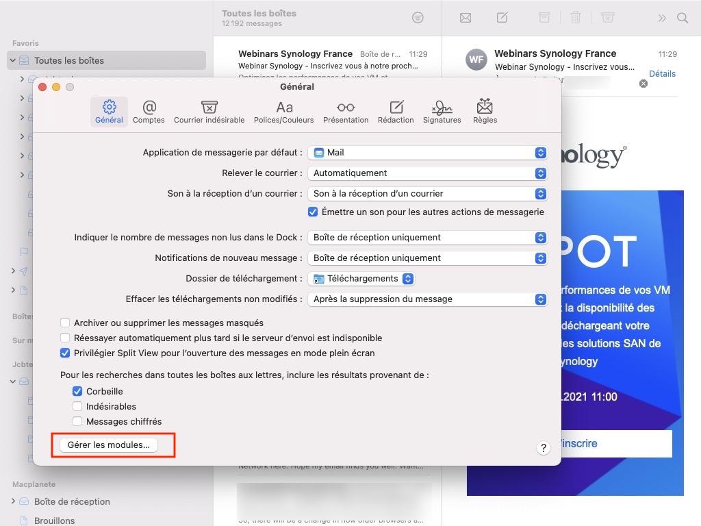 Apple mail gerer les modules pour tracage publicitaire