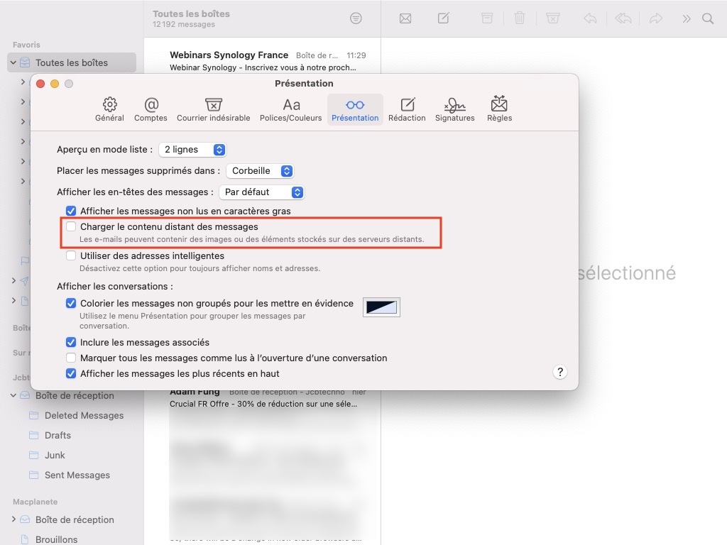Bloquer les trackers dans Apple Mail Mac