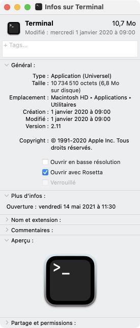 Ouvrir Terminal Mac M1 avec Rosetta