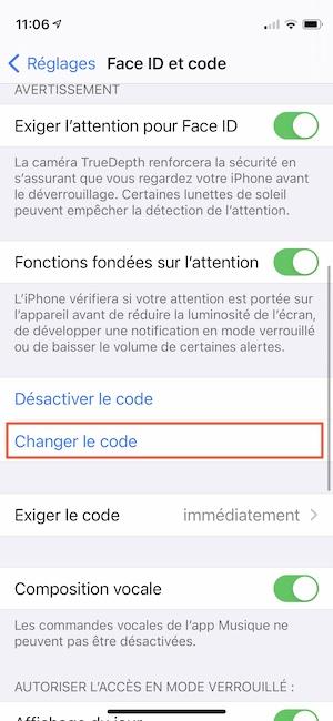 comment changer le code de verrouillage iphone
