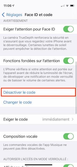desactiver code iPhone
