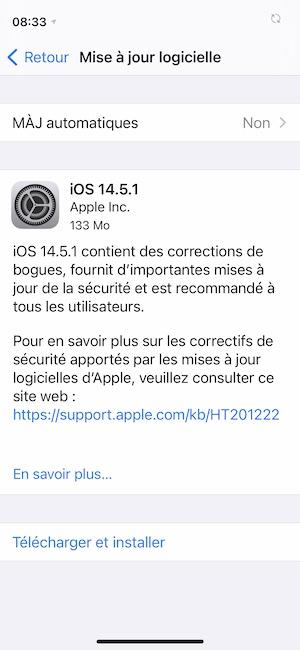 iOS 14.5.1 pour iPhone et iPadOS 14.5.1 pour iPad