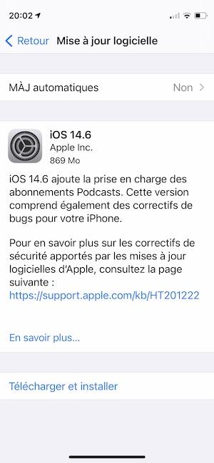 iOS 14.6 pour iPhone