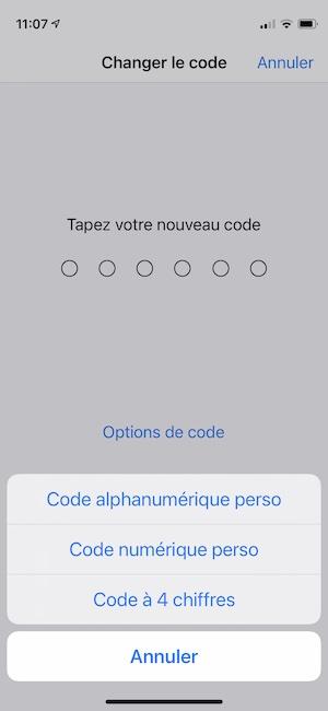 iphone choisir code 4 chiffres ou alphanumerique perso