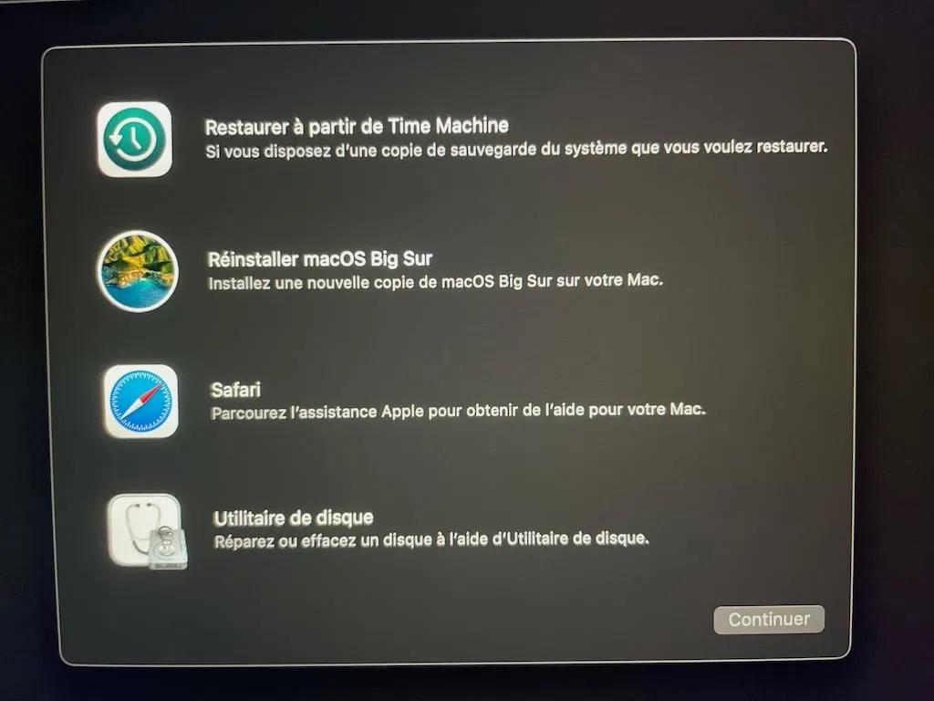 macOS Big Sur disque de demarrage