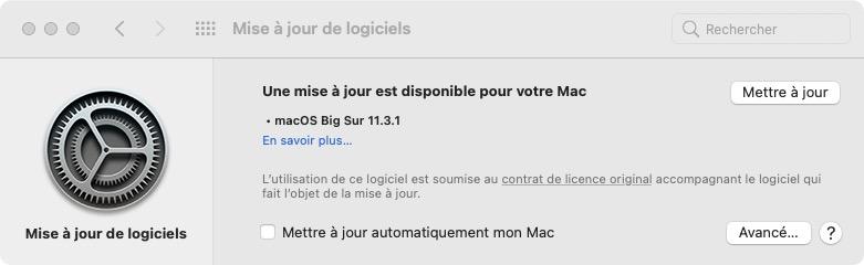mise a jour macOS Big Sur 11.3.1