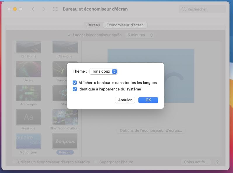 parametrer screensaver Bonjour sur Mac