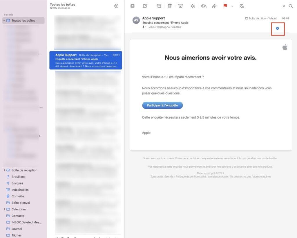 stopper les pixels espions dans Mail