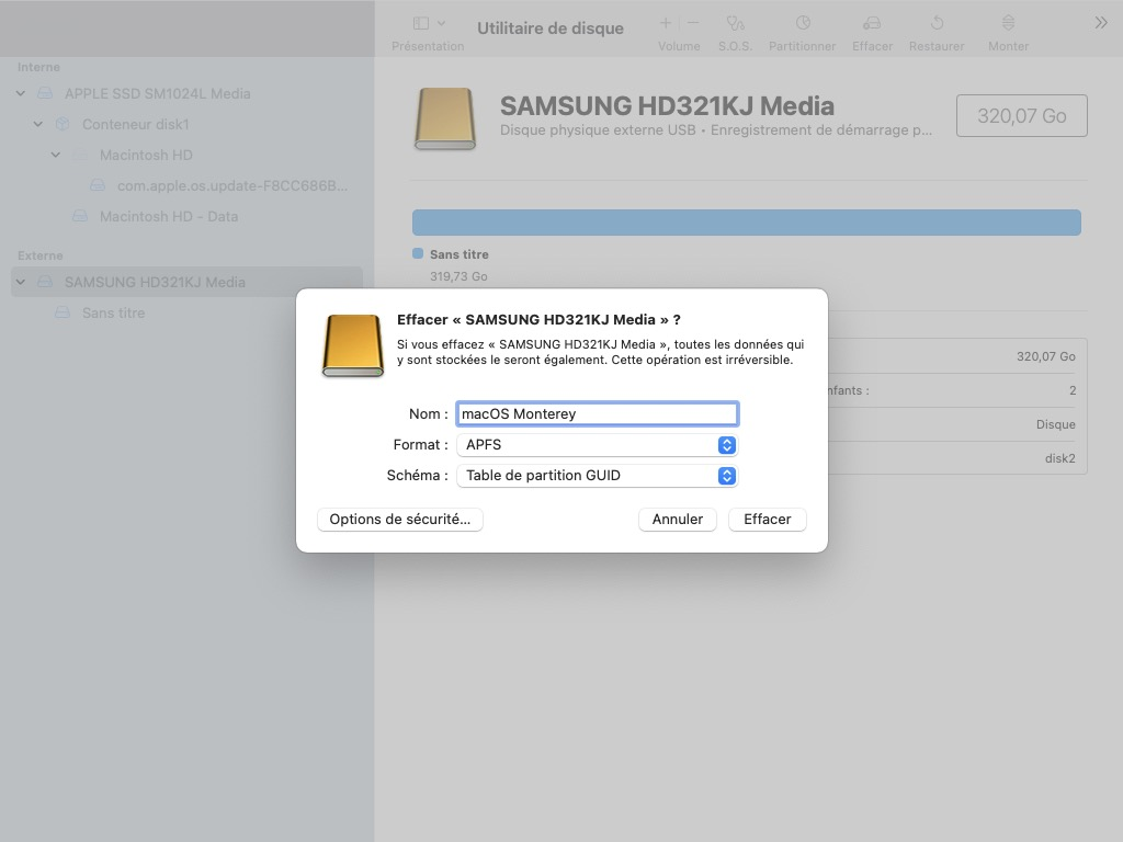 Installer macOS Monterey sur un disque externe USB formatage