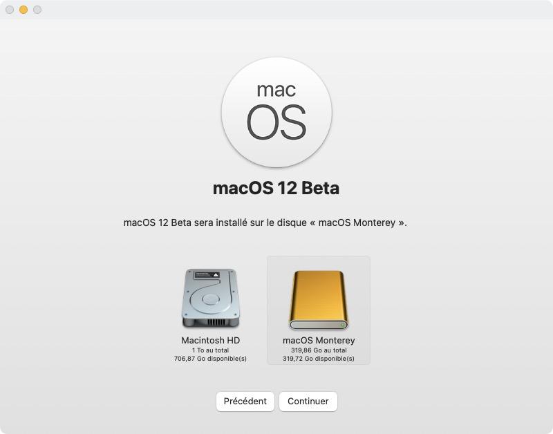 MacOS Monterey installation disque usb