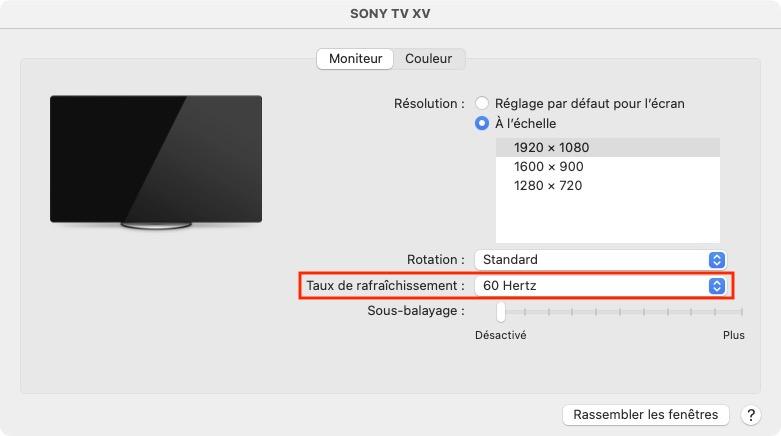 changer le taux de rafraichissement de l ecran du Mac