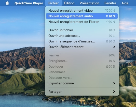 creer un podcast audio sur Mac avec Quicktime