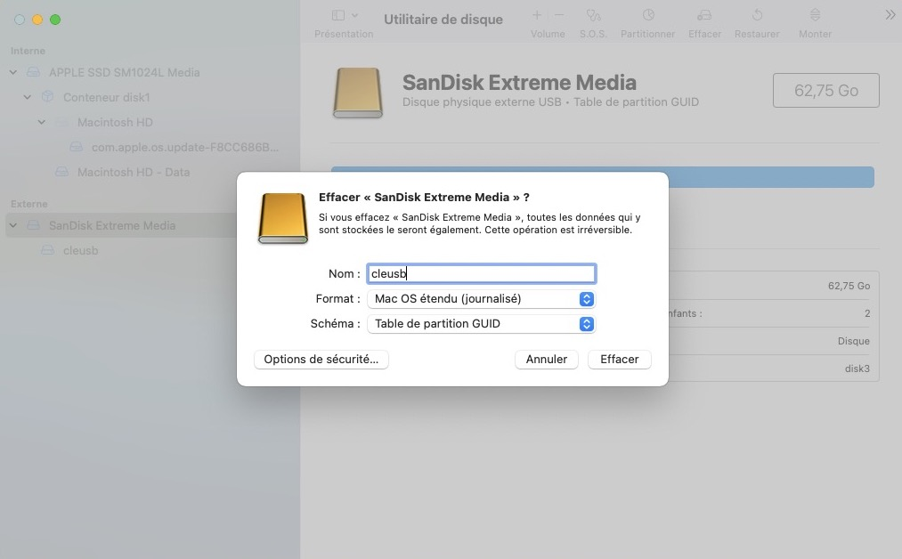 formater cle usb macos monterey