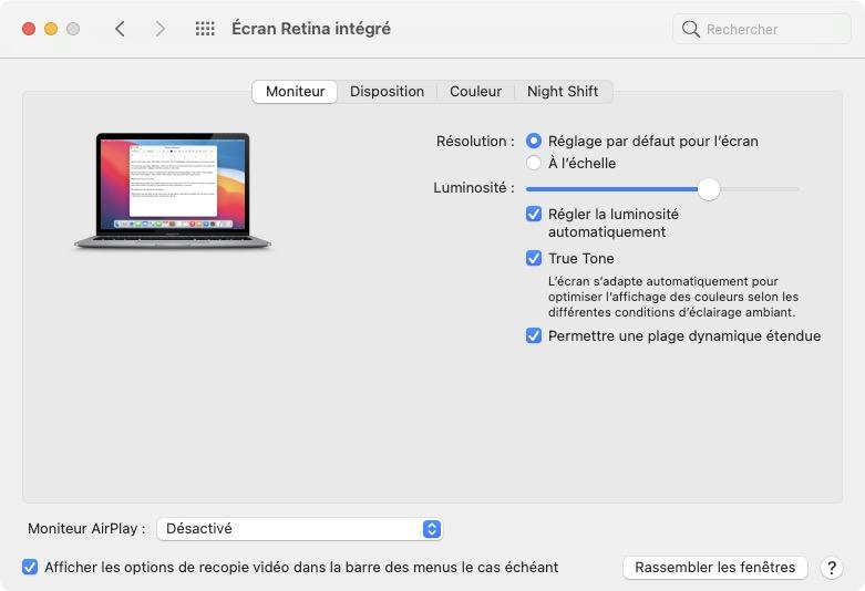 macbook taux de rafraissement ecran