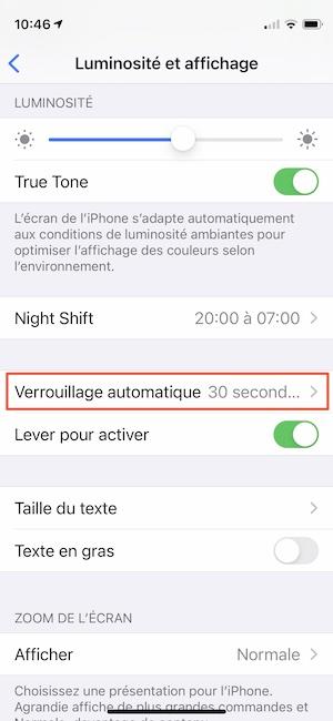 modifier mise en veille ecran iPhone
