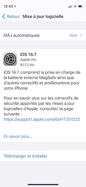 iOS 14.7 pour iPhone telecharger