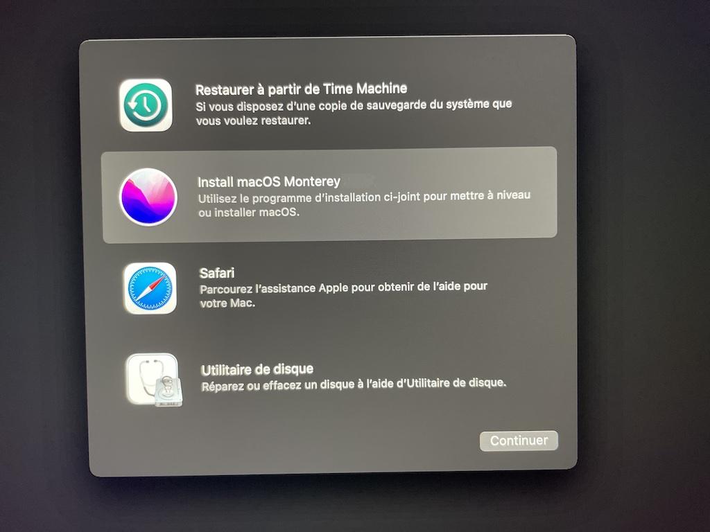 installer monterey utilitaire de disque