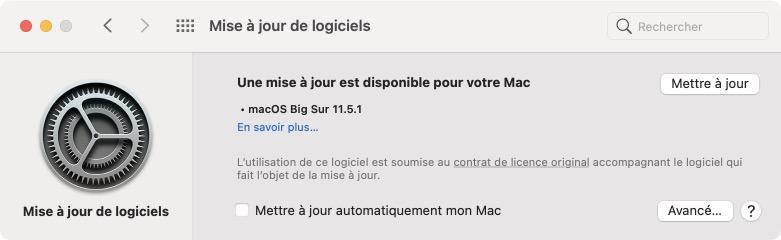 macos Big Sur 11.5.1 telecharger patch de securite