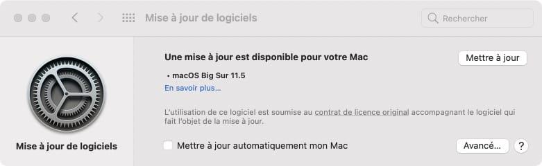macos big sur 11.5 mise a jour pour mac