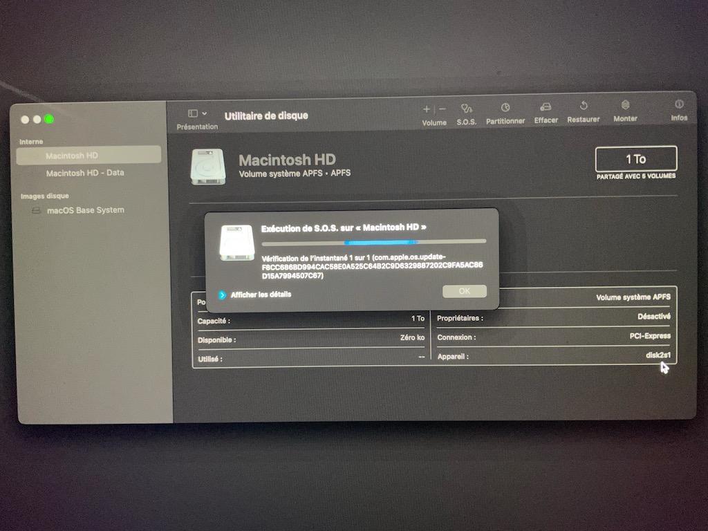 reparer disque macintosh HD