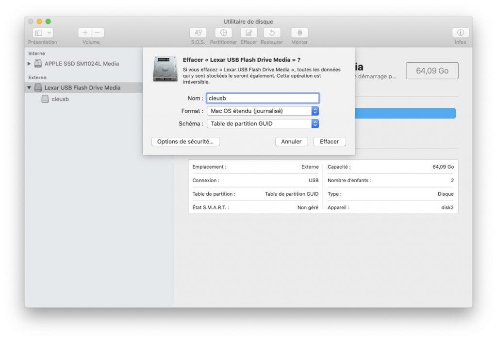 Installer macOS Monterey sur un Mac non compatible formater cle usb